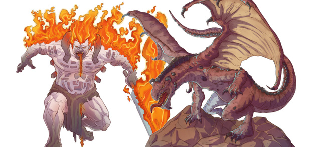 Fire Giant and Red Dragon