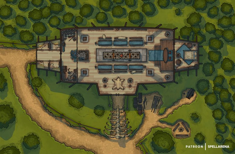 Viking Longhouse Battle Map, a Collaboration with Adventure Music [FREE]